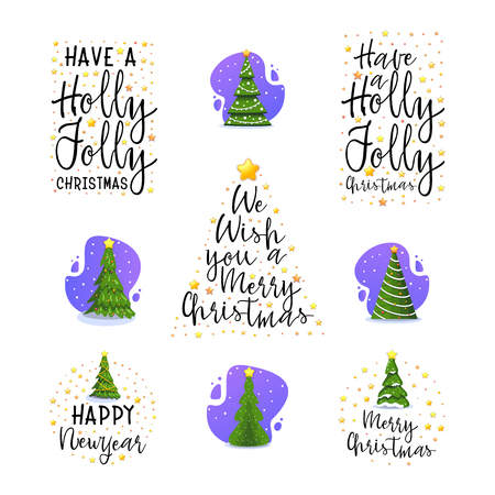 New Year and Christmas tree slogans. Modern flat design and calligraphy. Isolated on white background