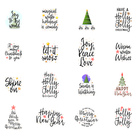 Slogans for the new year. Christmas posters for an interior or for t-shirts. Modern style calligraphy and lettering 3d stars. On a white background Vektorové ilustrace