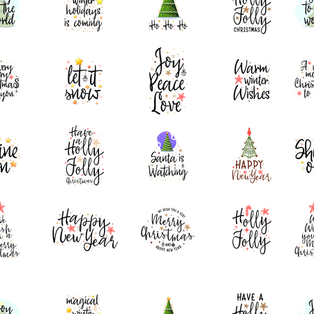 Slogans for the new year. Christmas posters for an interior or for t-shirts. Modern style calligraphy and lettering 3d stars. On a white background