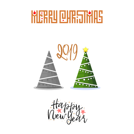 The concept of Christmas trees modern flat style with decorations and without toys. Merry Christmas and Happy New Year