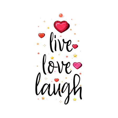Leben lieben Lachen. Der Slogan der Liebe auf weißem Hintergrund in Handschrift um realistische Herzen und Sterne.