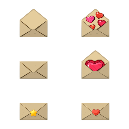 Envelope and heart stamp. A love message, empty a few hearts and a star. Game design style