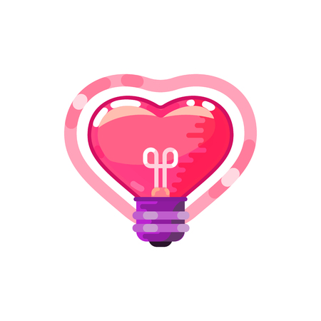 Heart lightbulb, flat design style. On a white background 向量圖像