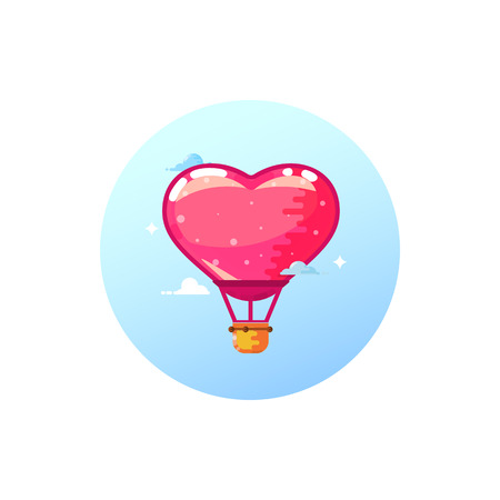 Airship balloon heart, stylish icon in flat style. On a white background