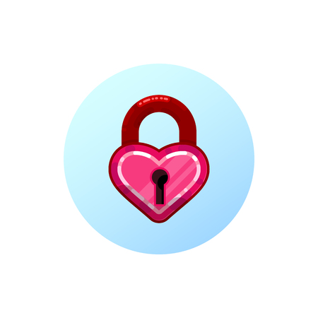 Heart lock. flat design style. On a white background