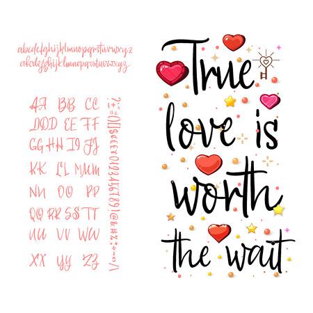 True love is worth the wait. Calligraphic handwriting Illustration