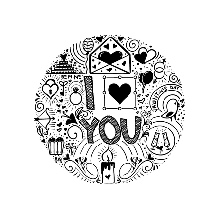 I love you. Doodle slogan for a t-shirt or poster interior, monochrome. Vector illustration Illustration