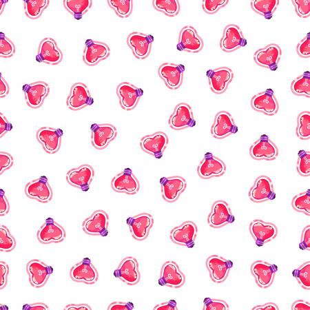 Seamless pattern of heart light bulb. Valentines day background - Vector illustration. On a white background
