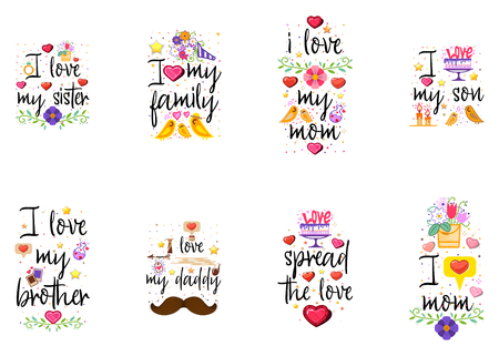 Fashion slogans - I love ... with flat design elements, for apps, interior posters, and social networks. On a white background