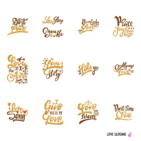 Set letteirng quotes about love. It can be used to design prints, stamps, posters, Illustration
