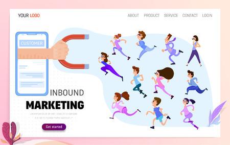 Concept Magnet pulling people inbound marketing