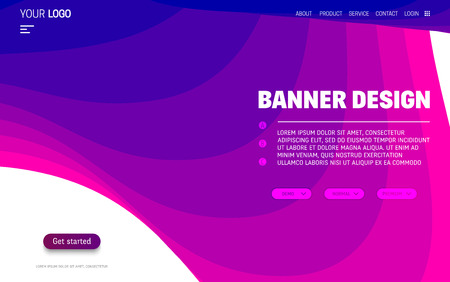 Fluid colorful shapes website template. Trendy liquid composition Çizim