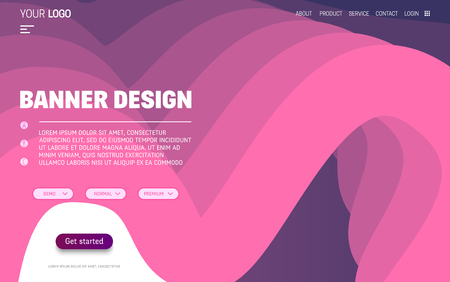 Fluid colorful shapes website template. Trendy liquid composition. Vector illustration Illustration