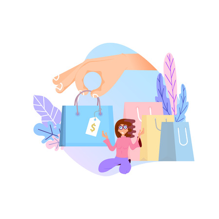 Shopping online concept. Flat design tiny woman and big bags Ilustracje wektorowe