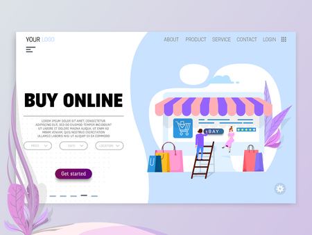 Online shopping concept, illustration metaphor, tiny cartoon people and laptop as storefront. isolated objects Ilustracje wektorowe