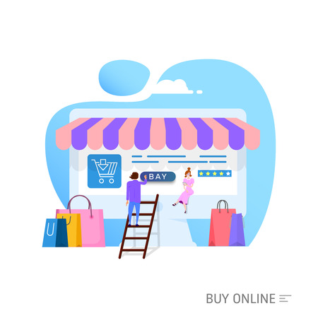 Online shopping concept, illustration metaphor, tiny cartoon people and laptop as storefront. isolated objects