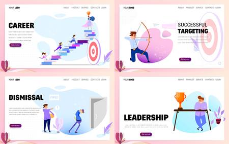 Set of business concept website templates or landing page. Flat style.