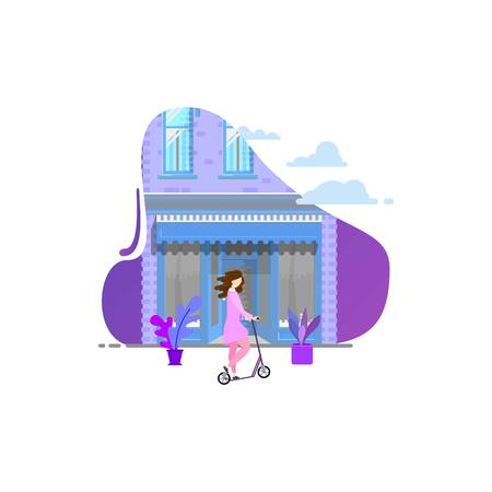 Girl on a scooter against the background of the building. Modern flat design.