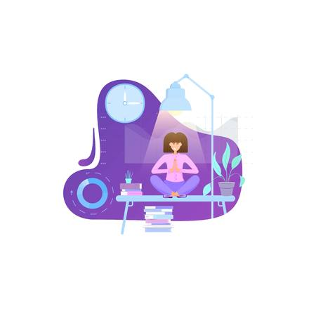 Yoga in the office - a girl employee meditates on the table sitting with legs crossed. Flat design. Illusztráció