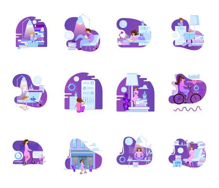 A set of scenes with characters in the life of learning and healthy living, and in the office. Concept shabonov illustrations for mobile applications.
