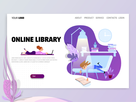 Landing page or website template with scenes of active life in an urban environment. Concept illustration with characters Çizim