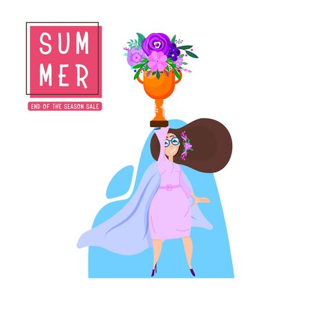 Summer poster - happy girl holds in her raised hand a golden cup with flowers, a pose of a super hero.