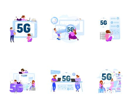A set of business scenes with tiny men and women in the office for work and with clients.