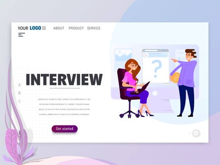 Interviewing, job search. Flat design vector illustration. landing page template.