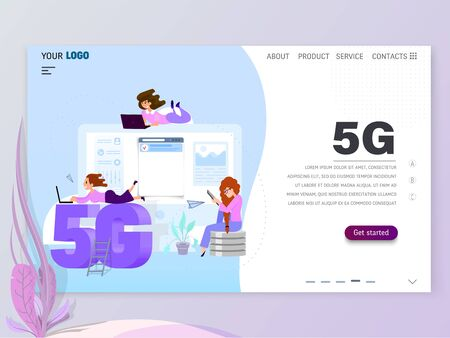 Graphic designer, artist - draws on the tablet, flat style. Landing Page Template