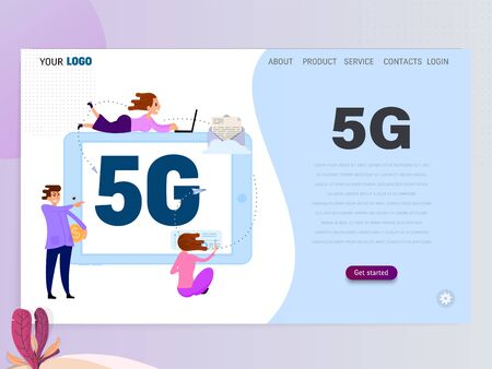 5G connected concept with characters, landing page template, flat style.