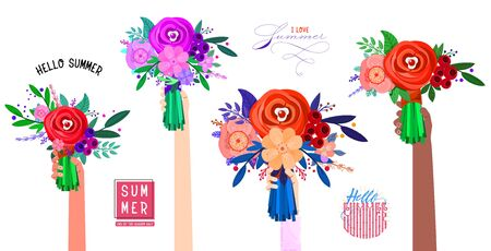Different types of bouquets of flowers in the hands, male and female - banner hello summer and I love summer. Çizim