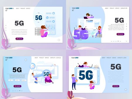 5G connected concept set with characters, landing page template, flat style. Çizim