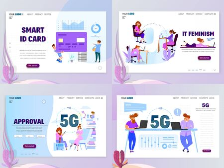 Business concept home smart cards and 5G landing page templates