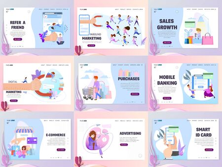 Business concepts of landing pages marketing in the Internet and sale in social networks a large set