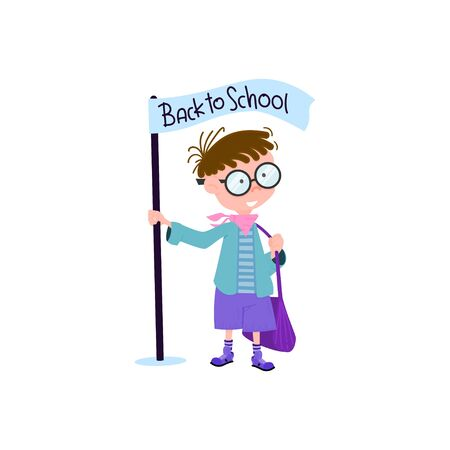 Schoolboy with a backpack cartoon flat style character, back to school Çizim