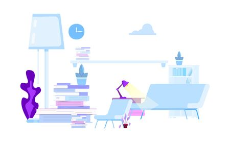 Part of the interior design for flat illustration can be used as a background