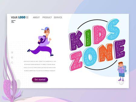 Kids play games Landing Page or Homepage Çizim