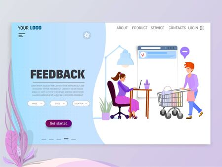 Concept of Customer service department for Website or Web Page. Character secretary or assistant flat graphics