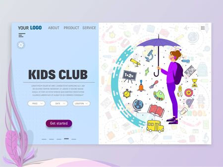 Kids Club home page template, flat style character