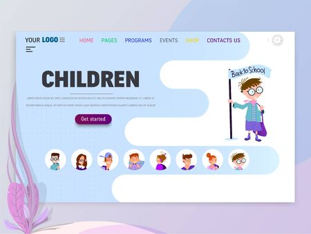 Children home page template, flat style character