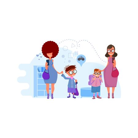 Moms lead children to school concept illustration on interior background. Metaphor - Back to School