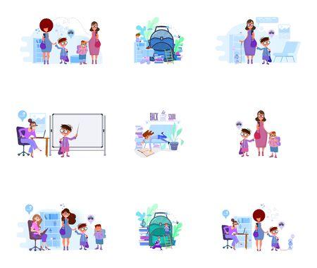 Moms lead children to school concept illustration on interior background. Metaphor - Back to School