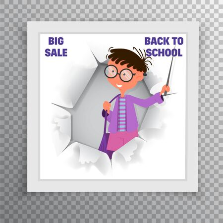 Banner - back to school and sale, flat style with geometric figures and characters.