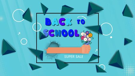 Back to school concept banner hand with a bouquet of flowers as a gift for the teacher. Çizim