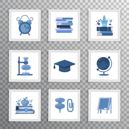 Set of flat icons for school site or mobile app.
