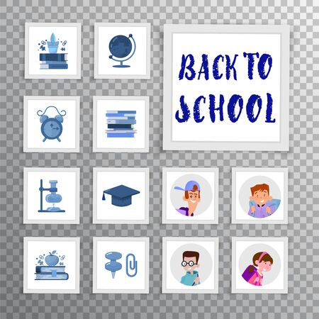 Back to school set of icons and avatars with children for website design or mobile app