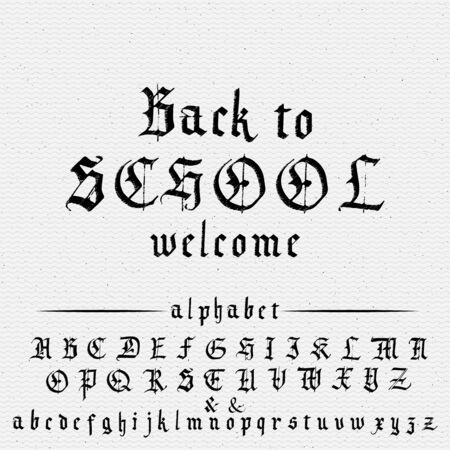 Back to school - banner, gothic font for typography design, posters