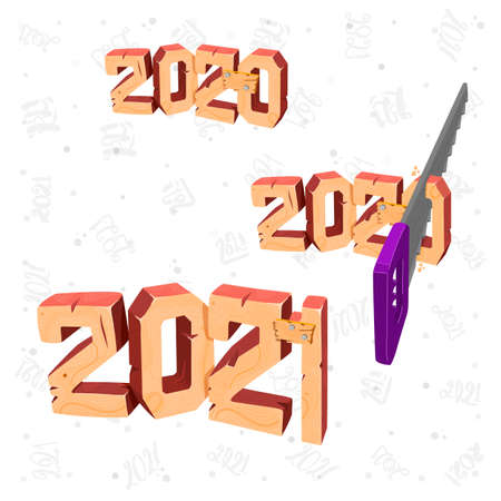 2020 to 2021 New Year banner 3d saw off a piece from 2020. Rooms are carved in wood, wood grain and texture. Minimalistic cover design. Illustration