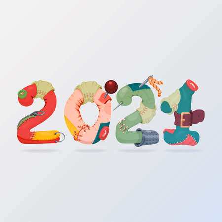2021 3d icon made of fabric stylized with buttons and needles. Illustration