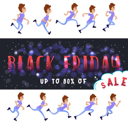 Black friday. Clearance sale - people run to shop